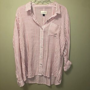 long sleeve red and white striped button down